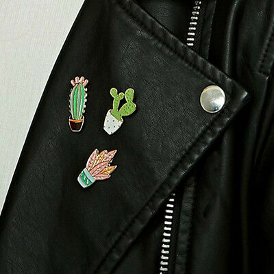 Cartoon Cartoon Cactus Potted Plant Brooch Pin for Coat Handbags Hat Accessory