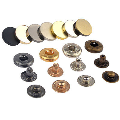 Gold Black Silver Brass 15mm Metal Flat Snap Fasteners Press Studs Sewing Button