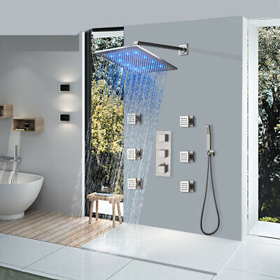 Stainless Steel Shower Panel Tower  Rain Waterfall Massage System Body Jets Tap