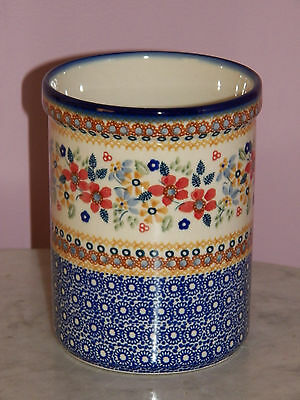 Genuine Hand Made Polish Pottery UNIKAT Kitchen Utensil Jar! Rembrandt Pattern!
