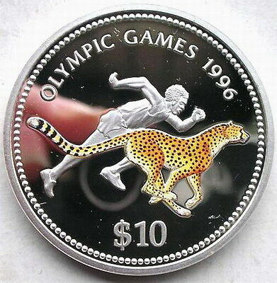 Namibia 1996 Cheetah 10 Dollars Colour Silver Coin,Proof