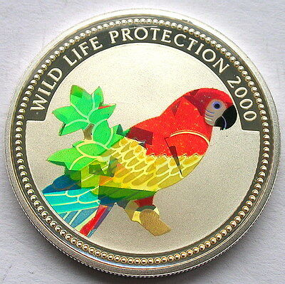 Congo 2000 Macaw10 Francs Hologram Silver Coin,Proof
