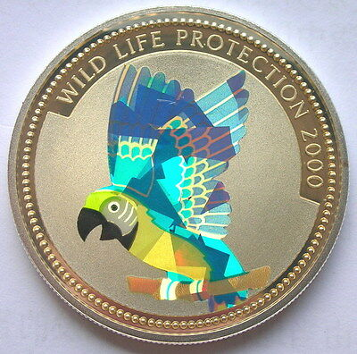 Congo 2000 Parrot10 Francs Hologram Silver Coin,Proof