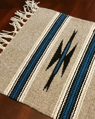 Chimayo 100% Wool Textile 10 X 10 Taupe Color  Weaving Made in New Mexico