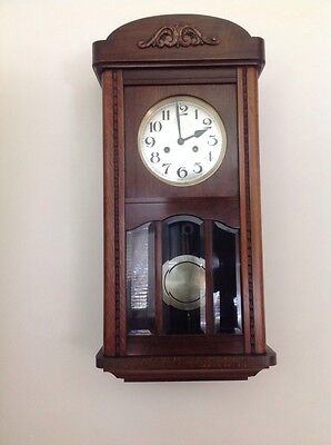 Vintage wooden case, chiming pendulum wall clock With Size 12 Key Winds & Works