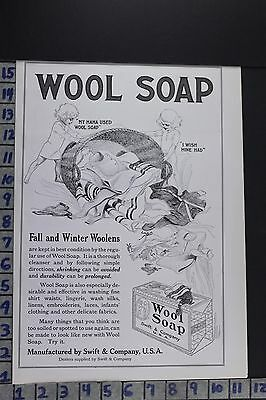 1908 Household Wool Soap Washing Laundry Clothes Swift Co Vintage Ad Ec021