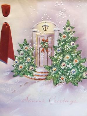 Vintage Art Deco Christmas Card Front Door Decorated Trees Embossed Glitter