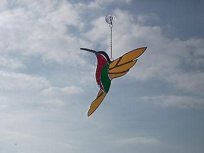 HANDMADE Stained Humming Bird Suncatcher
