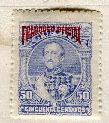 ECUADOR;  1892 classic Official issue Mint hinged 50c. value