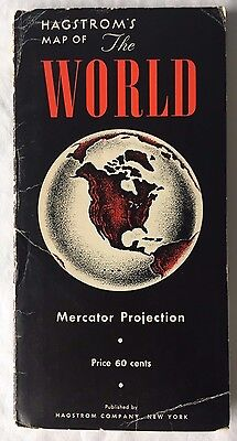 Vintage 1962 Hagstrom Map of the World Mercator Projection Folding Scarce