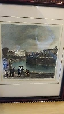 "Framed Hand Coloured Vintage Print ""The Tower Moat"" View From 1820"