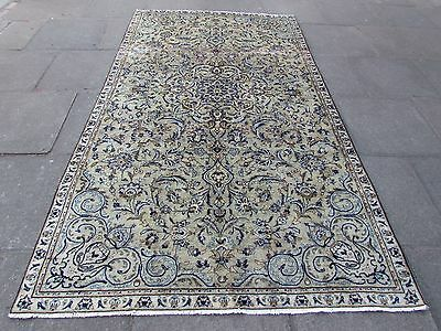 Old Traditional Hand Made Persian Rug Oriental Green Wool Carpet Rug 280x162cm