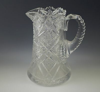 Abp American Brilliant Cut Glass Elmira #51 Water Pitcher, Rare