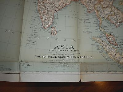 "1933 National Geographic Map Of Asia And Adjacent Regions 31"" x 38"" Color"