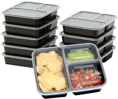 10 Pack 3 Section Microwave Safe Food Container Lid Divided Plate Lunch Box 36oz