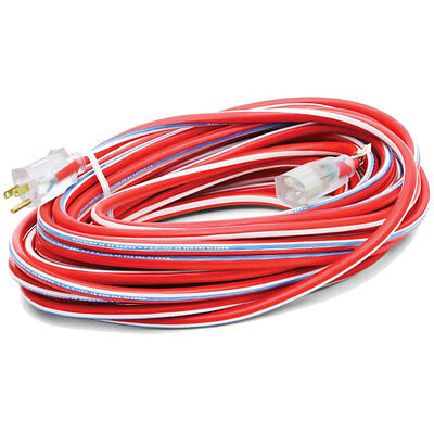 50' 12/3 Red White + Blue Outdoor Ext Cord Southwire Electrical 2548SWUSA1 New