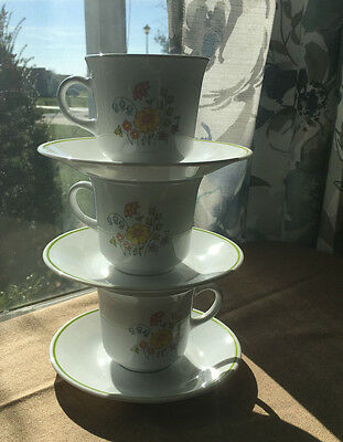 Set of 3 Corelle Corning Spring Meadow Coffee/Tea cups and saucer sets Very Nice