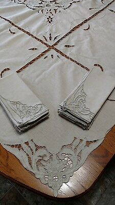 Vitg Lg Cutwork Embroidered Linen Tablecloth & 12 Napkins Taupe Tan Beige Floral
