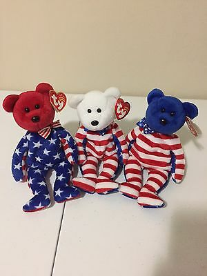 Ty Beanie Buddy Liberty Red White Blue Set Of 3