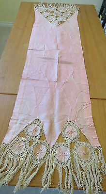 Antique Runner Silk Handmade Primitives Yo Yos Turkey Stitch Table Dresser Scarf