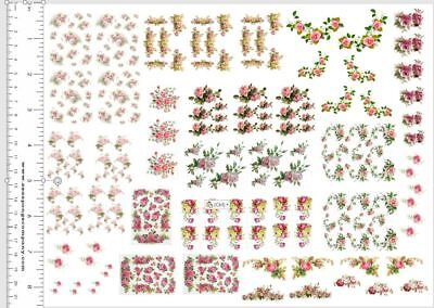 Dollhouse Miniature Shabby Chic Decals 1:12 Scale Floral Flowers Roses #8