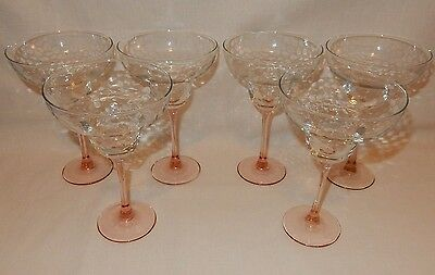 Set of 6 Pink Stem Optic Textured Margarita Goblets Cocktail Party Glass France