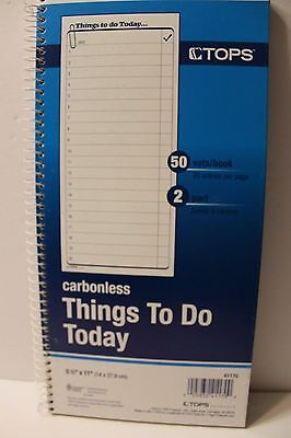 TOPS Daily Agenda/Things To Do Form 2-Part Carbonless 5.5 x 11 Inches 50-... NEW