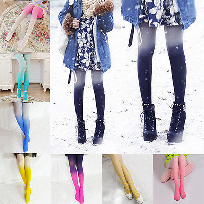 Ladies' Fading Gradient Stretch Tights Women Colored Watercolor Stockings