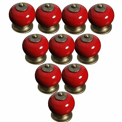 Lsgoodcare Red 38MM10PCS Europe Vintage Pumpkin Style Ceramic Door Knobs Drawer