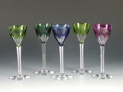 Set Of 5 BACCARAT GENOVA Multi Colored Cut To Clear Cordials
