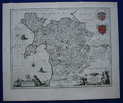 Original antique map NORTH WALES 'Walliae' ANGLESEY, Jansson, Janssonius, c.1646