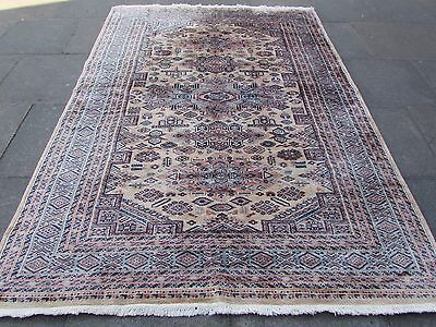 Old Traditional  Pakistan Wool Beige Oriental Hand Made Rug Carpet 270x191cm