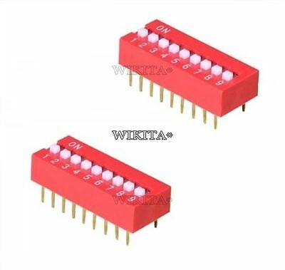 1Pcs Switch J12 2.54Mm Dip Pitch 9-Bit 9 Positions Ways Slide Type Red New Ic V