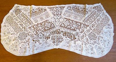 Antique Lace Runner Normandy Style Handmade Table Dresser Scarf Hand Crochet