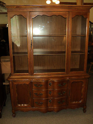 French Provincial Cherry China Cabinet, circa 1950's