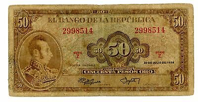 Colombia ... P-402a ... 50 pesos ... 1958 ... *VG-F*