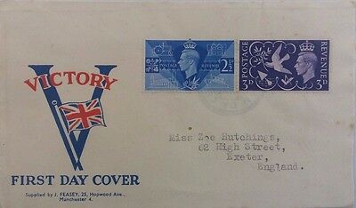 1946 Illustrated Great Britain Victory Stamps Cover Used Tristan Da Cunha