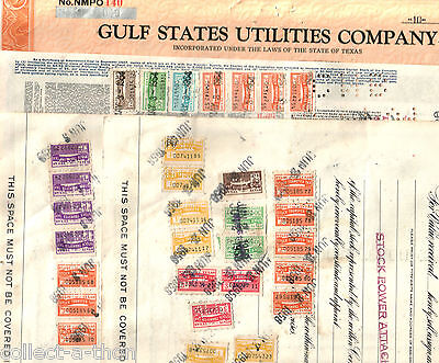 3-4 TEXAS UTILITY STOCKS w 12 or MORE RARE TEXAS STATE REVENUE STAMPS 1940's-50s