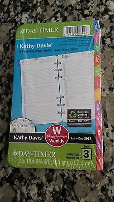 NEW! Day-Timer 2017 Kathy Davis 2-Page-Per-Week Planner Refill, Portable Size 3