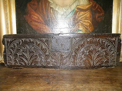 Superb 17Th C. Antique English Carved Oak Table Box Freeze Panel With Iron Lock