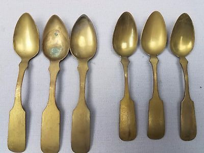 6 pc lot Antique Arts and Crafts Fiddleback tea Spoons Brass HF & Dixon