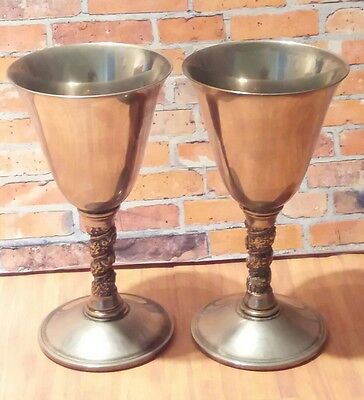 Pair of Silver Plated Wine Goblets - Made in Spain