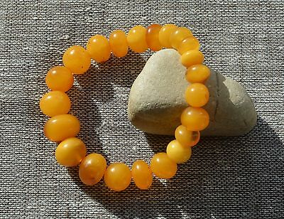 15.9 gr. Genuine Natural Round Beads Baltic Amber Bracelet Egg Yolk Butterscotch