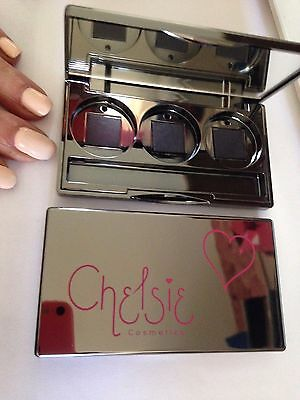 palette empty eye shadow lip gloss triple chelsie with mirror compact magnetic