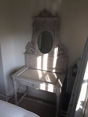 Beautiful 19th Century Painted French Antique Bedroom Dressing Table carved wood