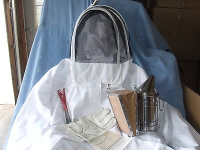 Beekeeping Jacket, Gloves, Smoker, and  Hive Tool  NEW -- Large Jacket