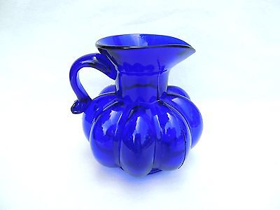 Handblown Cobalt blue Clevenger Brothers Cantaloupe Pitcher South Jersey