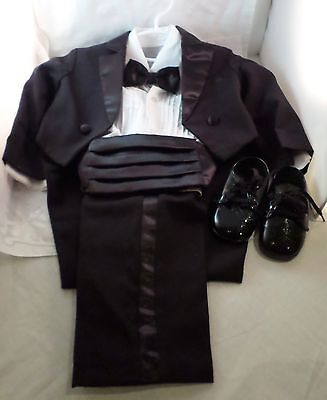 Toddler Boys 5 pc Tuxedo Suit With Tails w/ shoes Black Formal wedding Size 2T