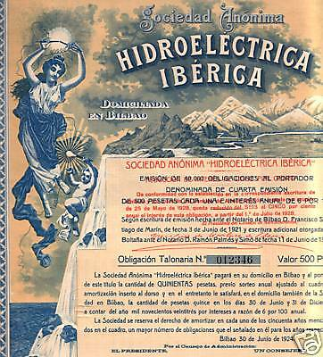 "Spain! Oldest Rarest ""hidroelectrica"" Bond 1924! Beautiful Historic Find Cv $125"