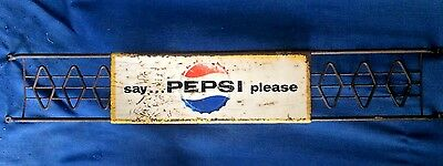 """Vintage 1960 """"Say Pepsi Please"""" Cola Metal Door Push Pull Sign Stout Co Handle"""